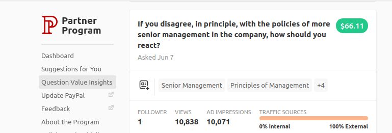 What kind of questions make money on Quora