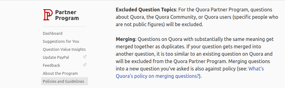 Guidelines by Quora on QPP